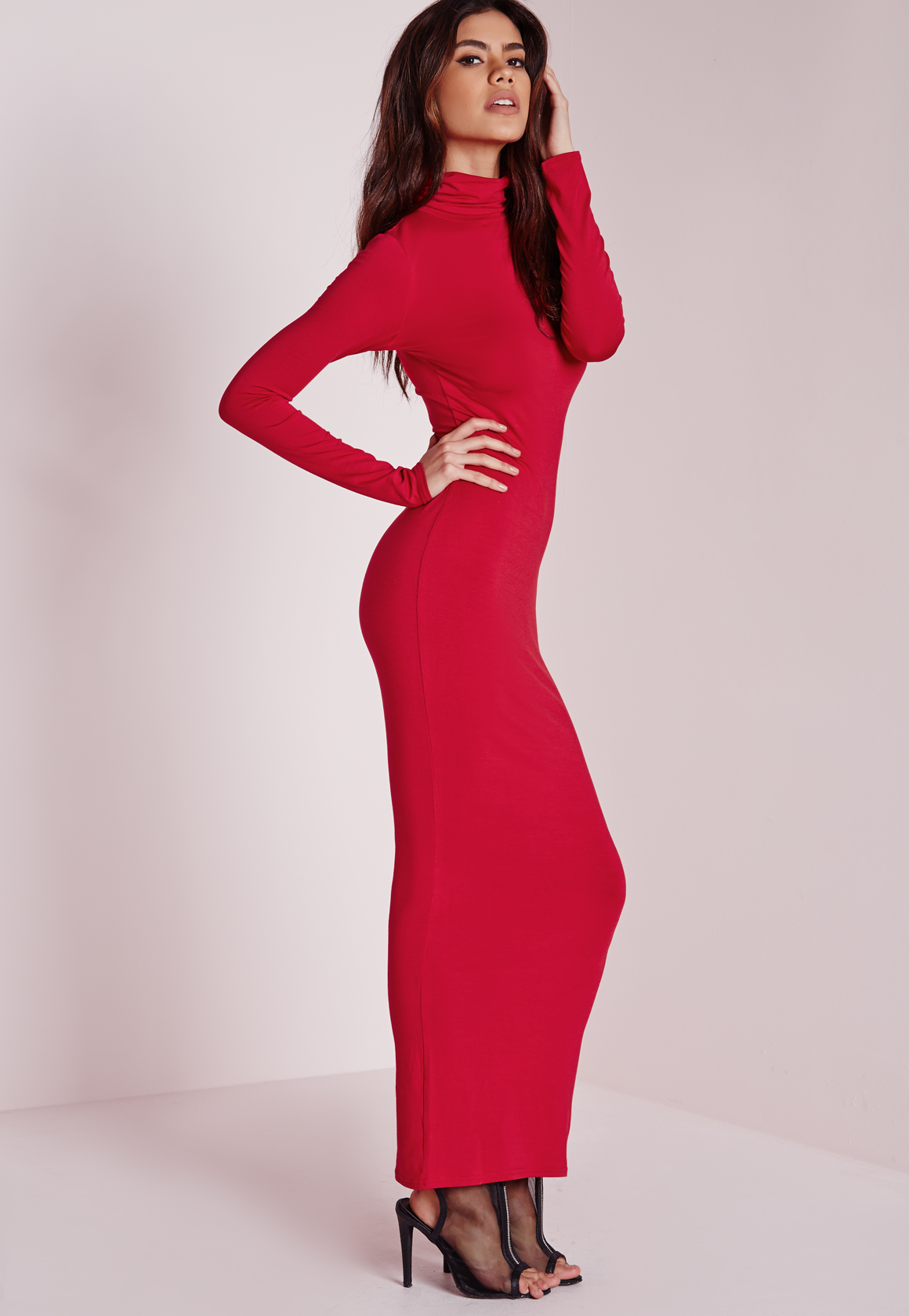 Lyst - Missguided Roll Neck Long Sleeve Bodycon Maxi Red in Red 6409e9560