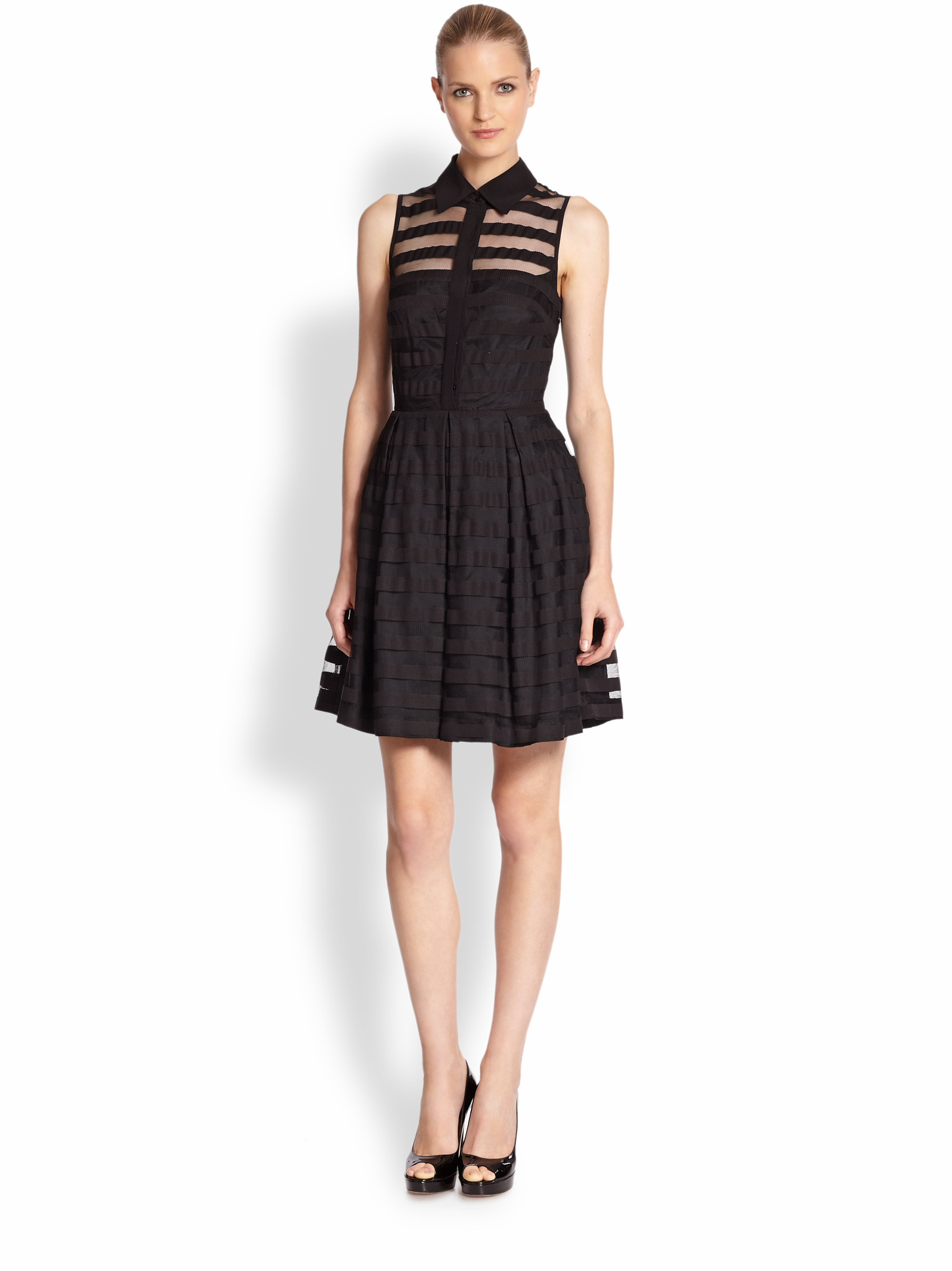 Trina turk Sheer-Stripe Shirtdress in Black   Lyst