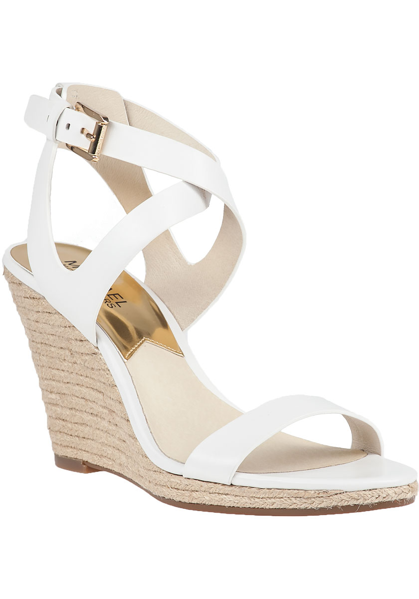 eb7bda4b288 Lyst - MICHAEL Michael Kors Kaylee Wedge Sandals in White