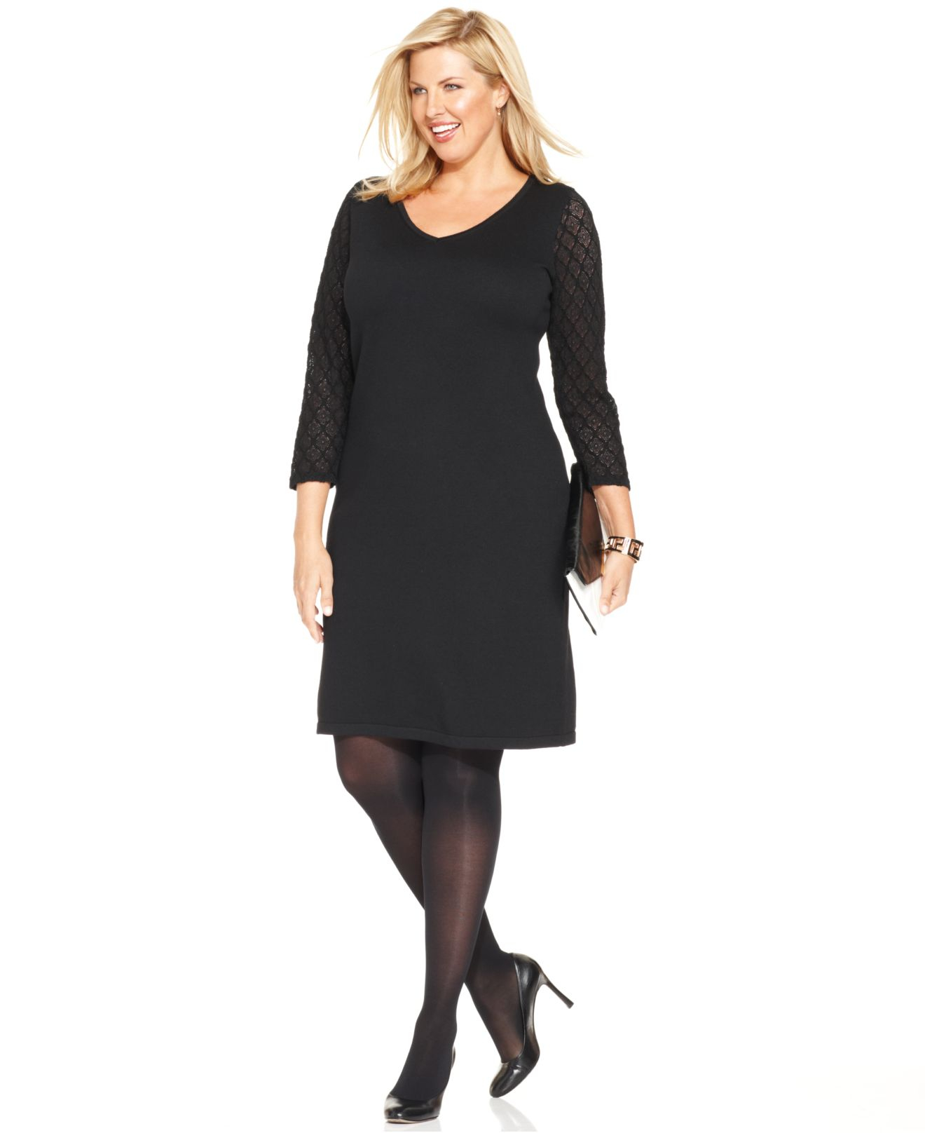 Lyst - Jones New York Collection Plus Size Lace-Sleeve Shift ...