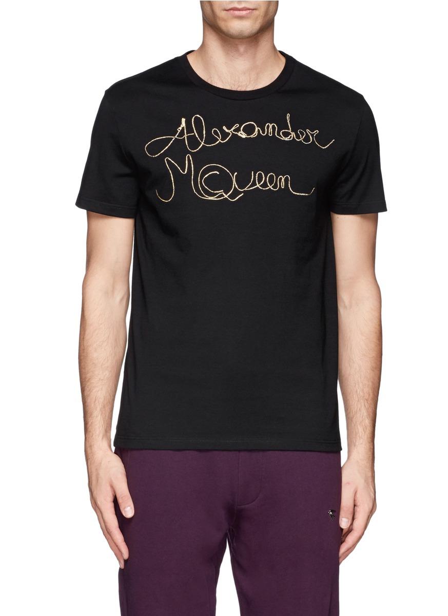 Alexander mcqueen zip text jersey t shirt in black for men for Alexander mcqueen shirt men