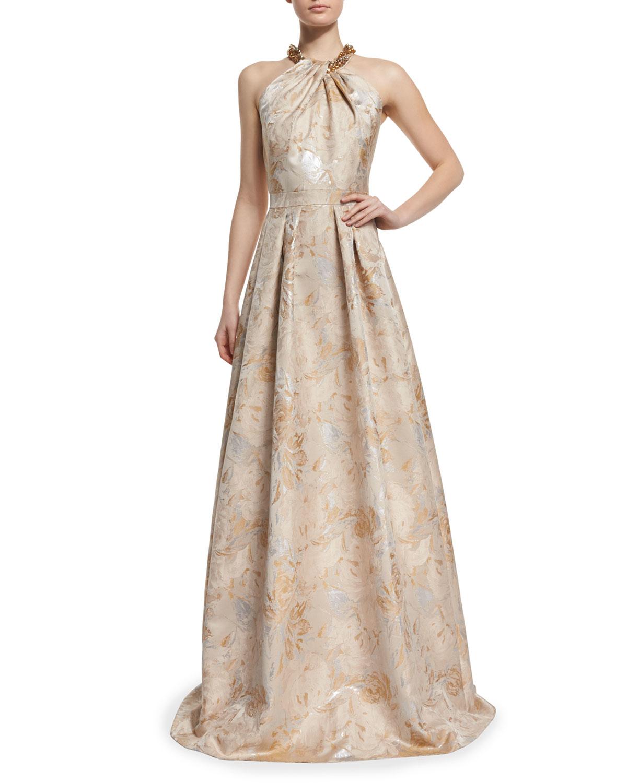 Lyst - Carmen Marc Valvo Beaded Halter Floral Jacquard Ball Gown in ...