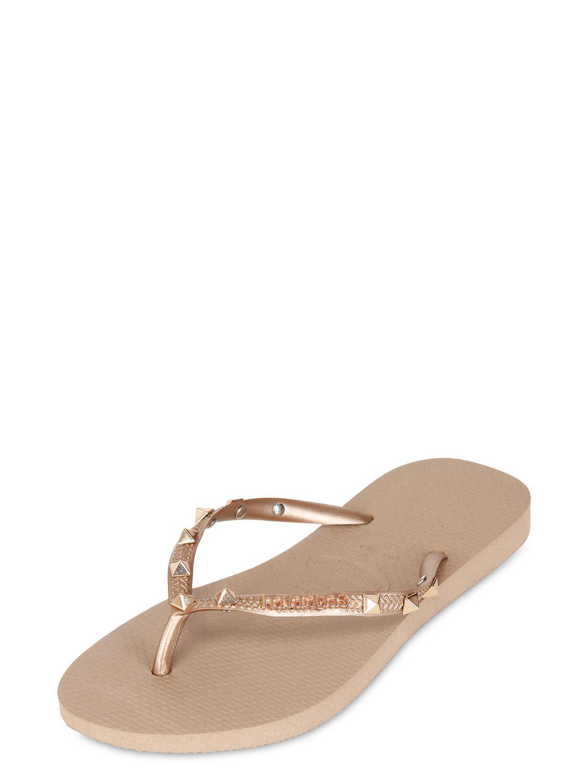 HavaianasSLIM HARDWARE - T-bar sandals - beige metallic PaxHOBr81w