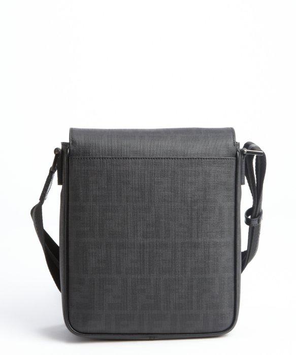 Fendi Black Coated Canvas Zucca Spalmati Mini Messenger Bag in ...