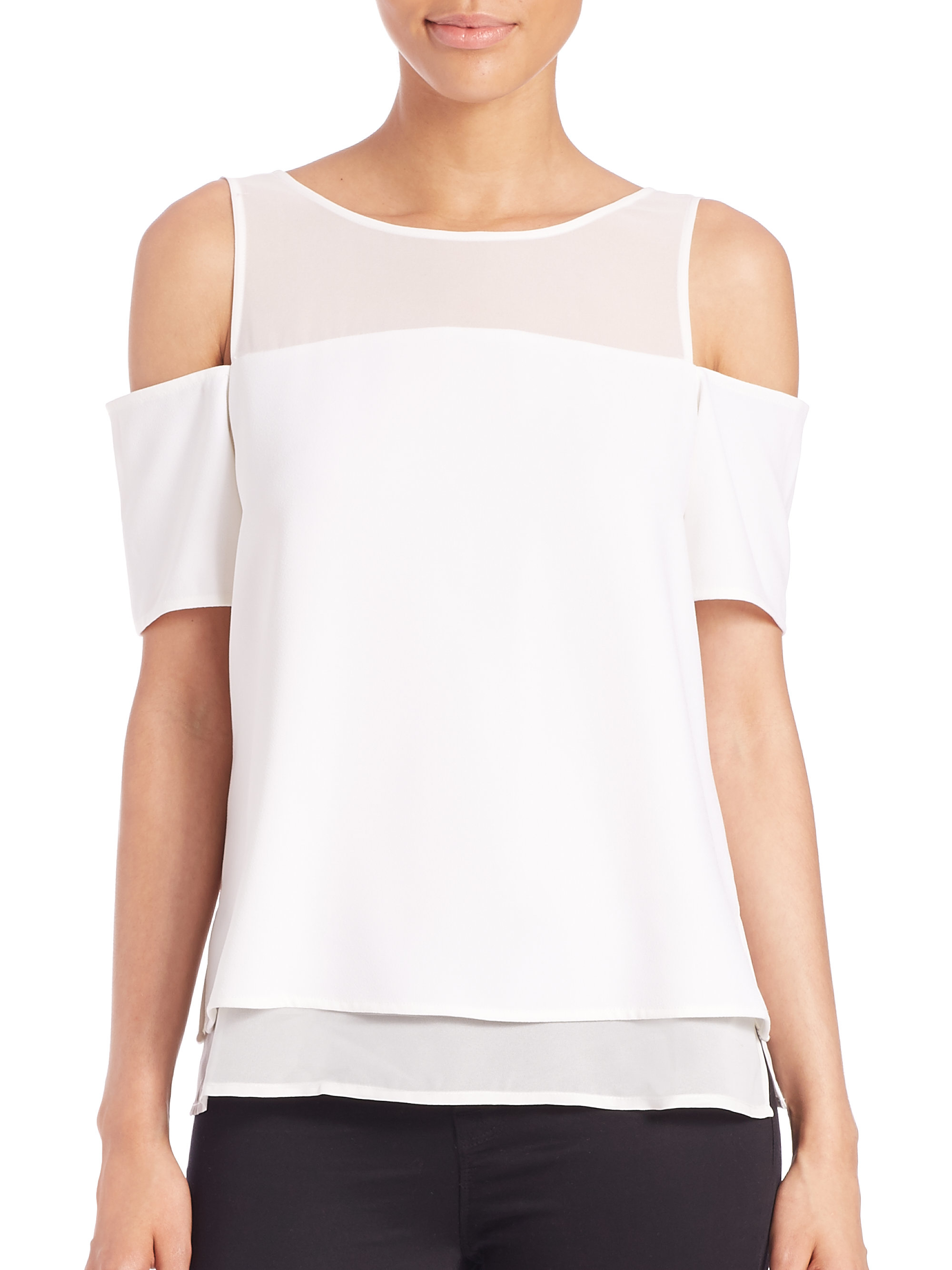 Cooper amp ella lily cold shoulder sheer yoke top in white lyst