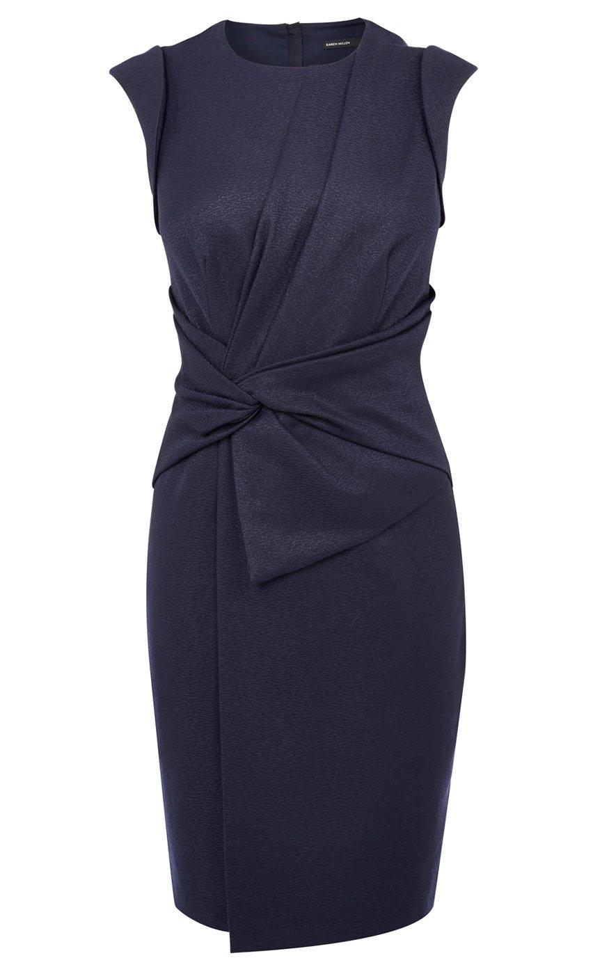 Karen millen blue asymmetric strap bodycon dress