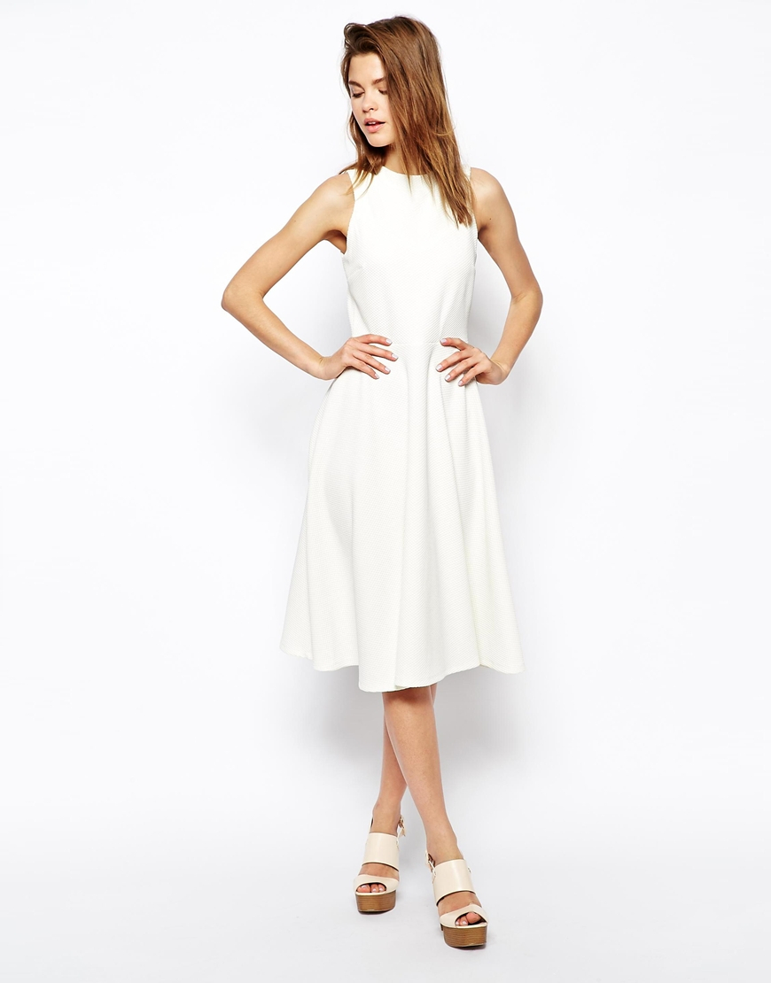 4f45ff6315f2 ASOS Midi Skater Dress In Texture With High Neck in White - Lyst