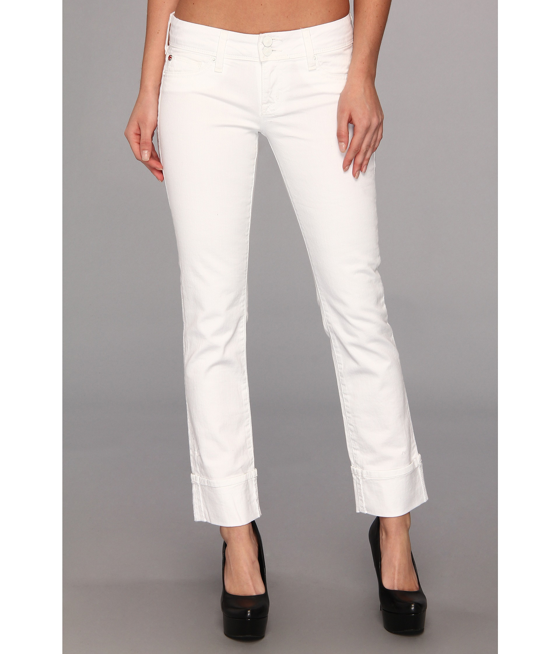 436cfac8531 Hudson Jeans Ginny Straight Crop W/ Cuff In White in White - Lyst