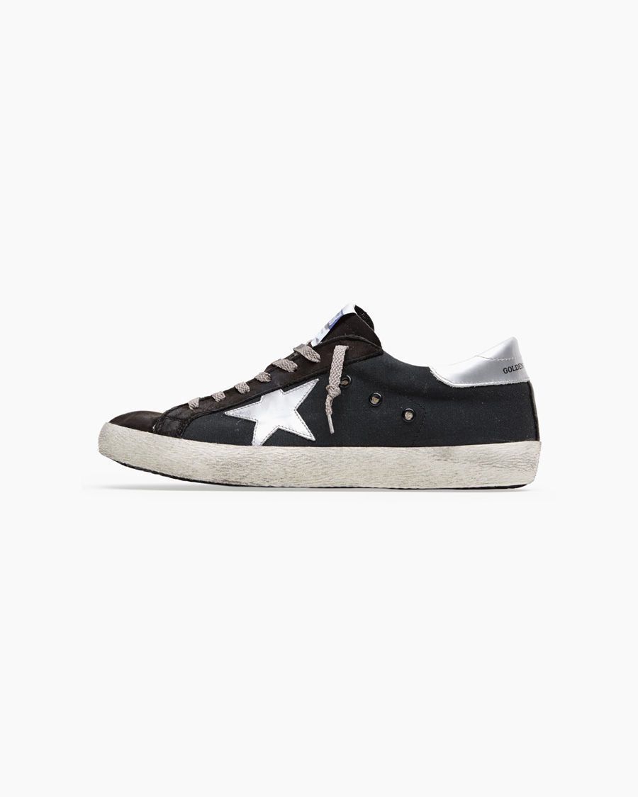 lyst golden goose deluxe brand superstar suede low top sneakers in black. Black Bedroom Furniture Sets. Home Design Ideas