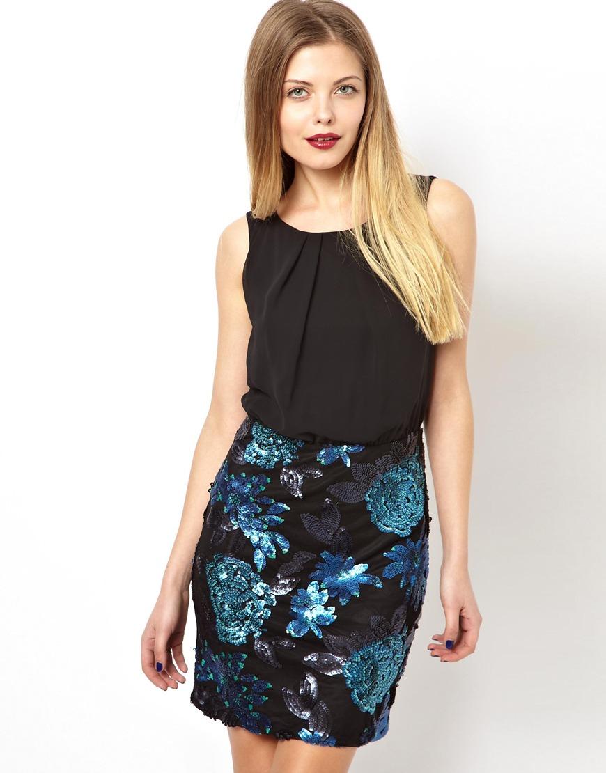 Asos Floral Sequin Skirt Dress in Black | Lyst