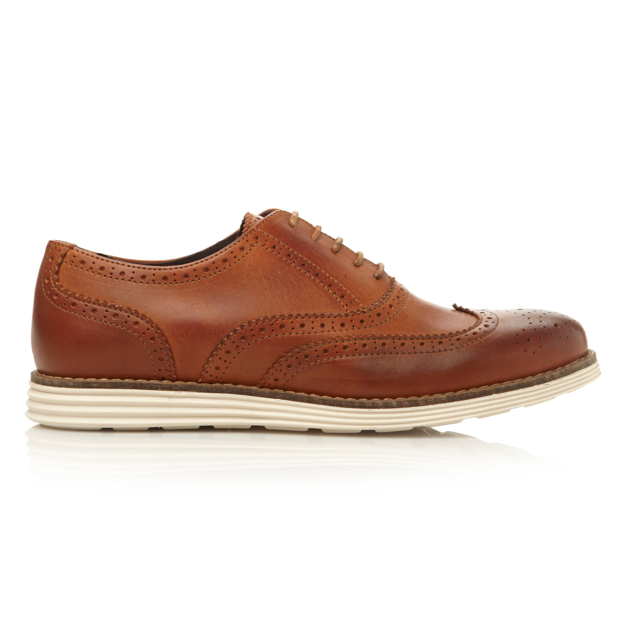 Dune Bayside Lace Up White Wedge Sole Brogues In Brown For