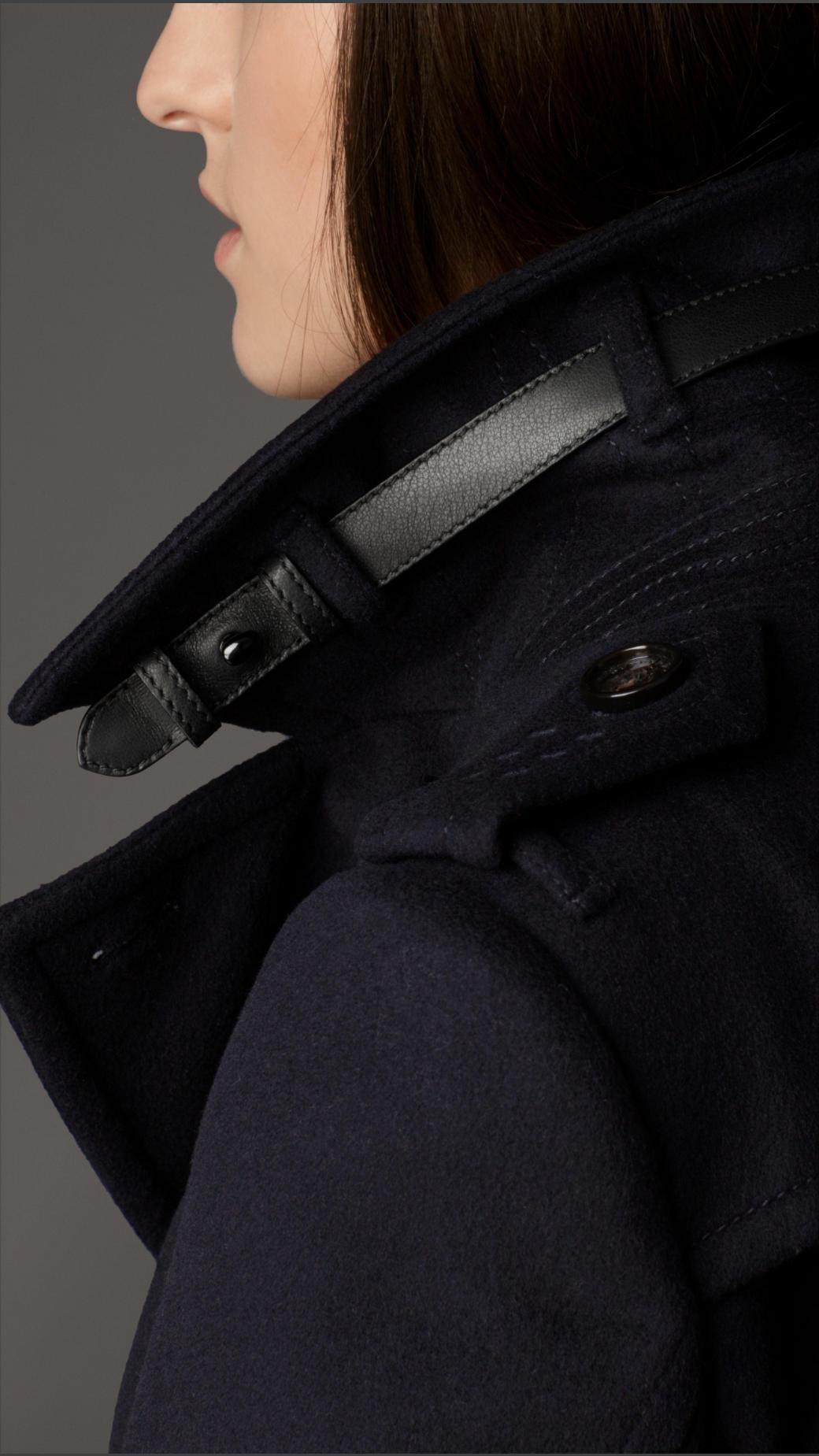 Black wool coat leather trim