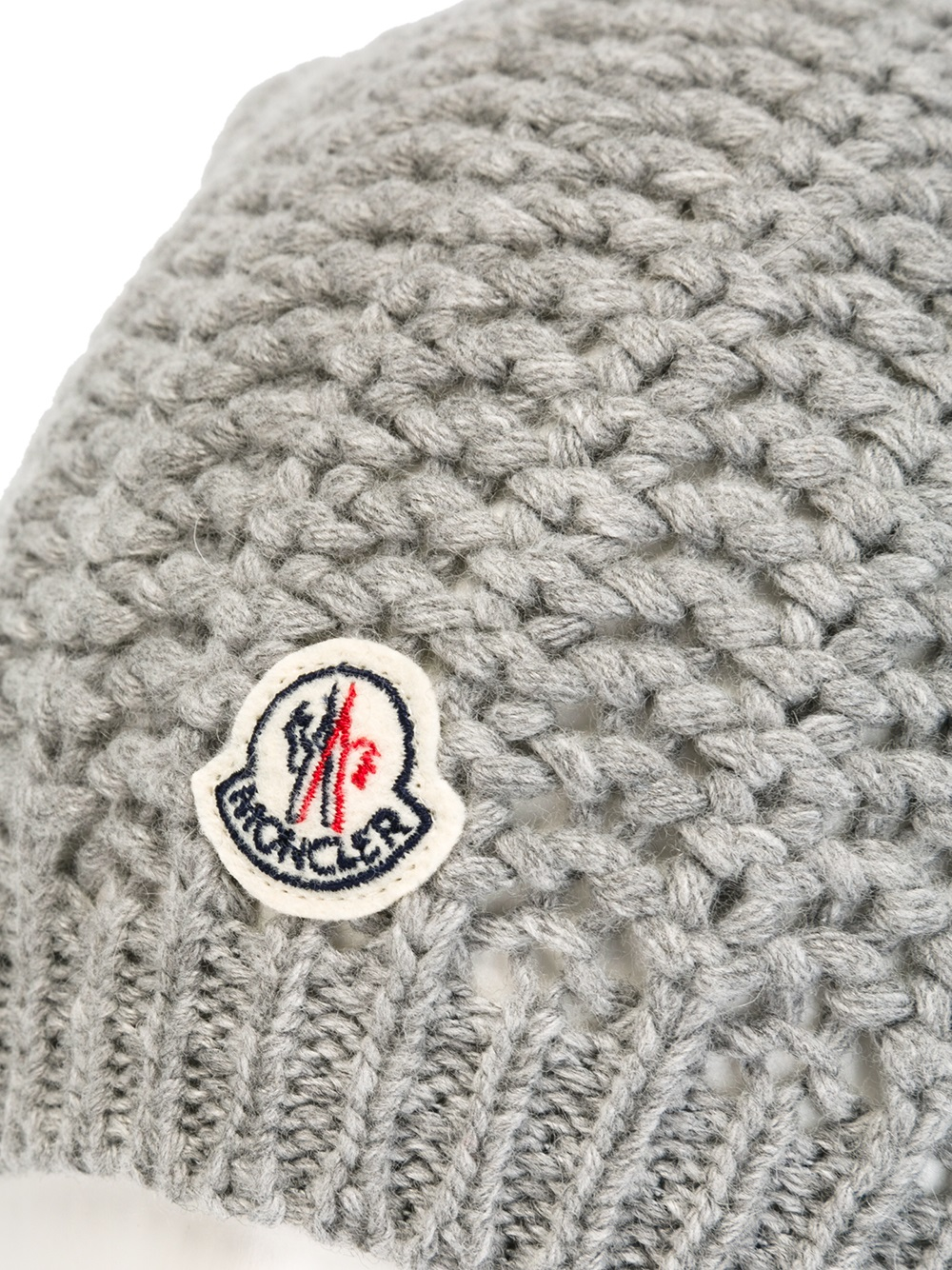 fa75fbd3c Moncler Fox Fur Pom Pom Beanie Hat in Gray - Lyst