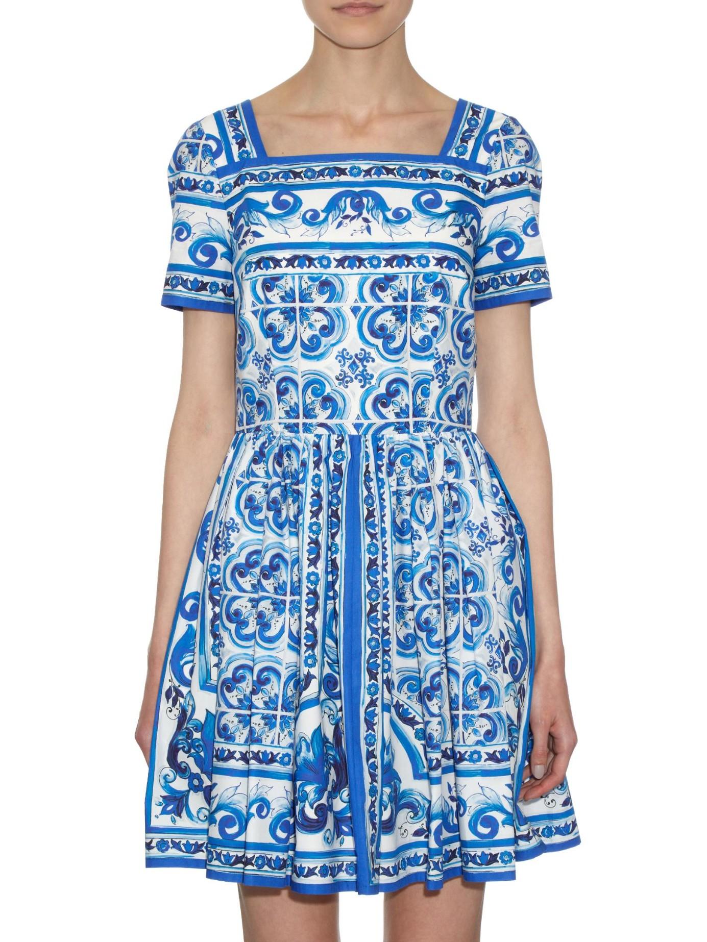 Lyst Dolce Amp Gabbana Majolica Print Cotton Poplin Dress