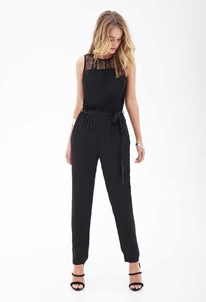 Forever 21 Crocheted Woven Jumpsuit in Black Lyst