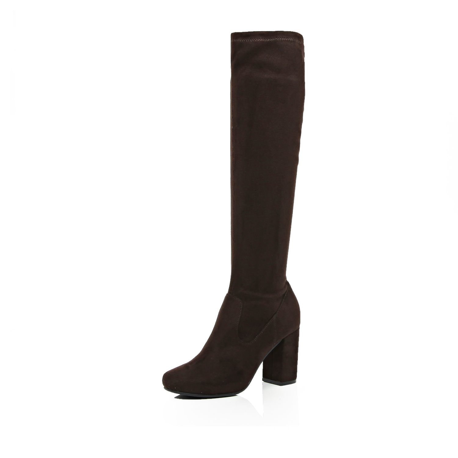 river island brown knee high heeled boots in brown lyst