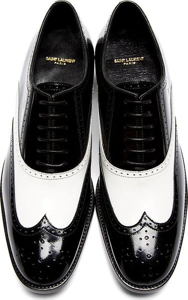 laurent black and white leather richelieu