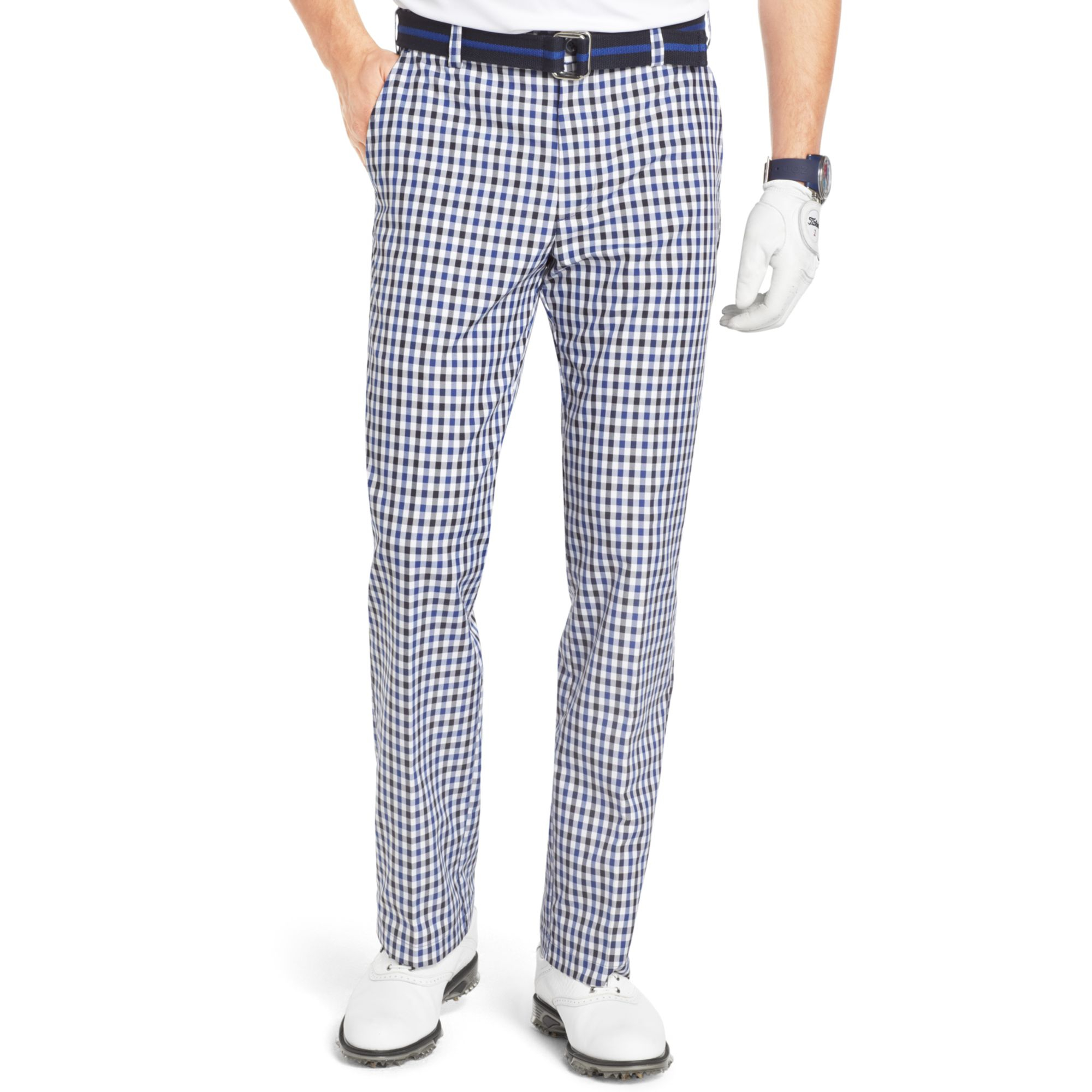 Izod Flat Front Gingham Check Performance Golf Pants in Blue for ...