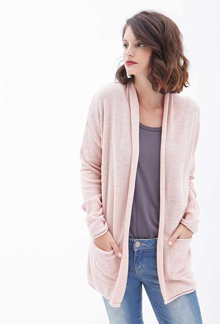 Forever 21 Contemporary Longline Shawl Collar Cardigan in Pink | Lyst