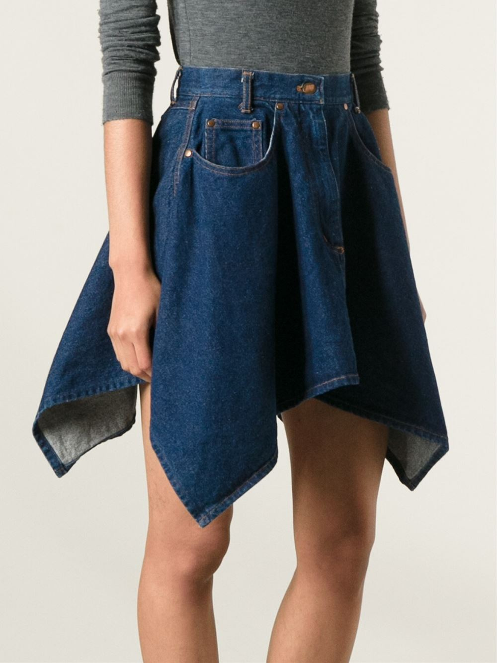 Jean paul gaultier Flared Denim Skirt in Blue | Lyst