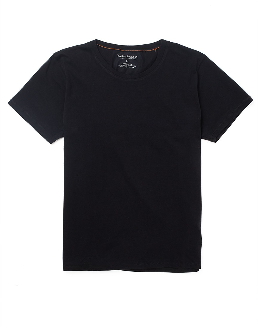 Nudie jeans Jeans Round Neck T-shirt in Black for Men | Lyst