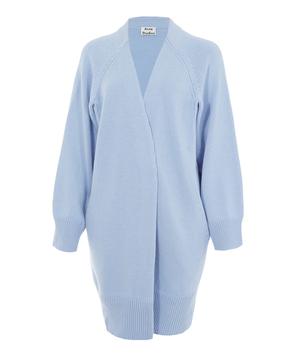 Acne studios Light Blue Chunky Wool Knitted Sonya Cardigan in Blue ...
