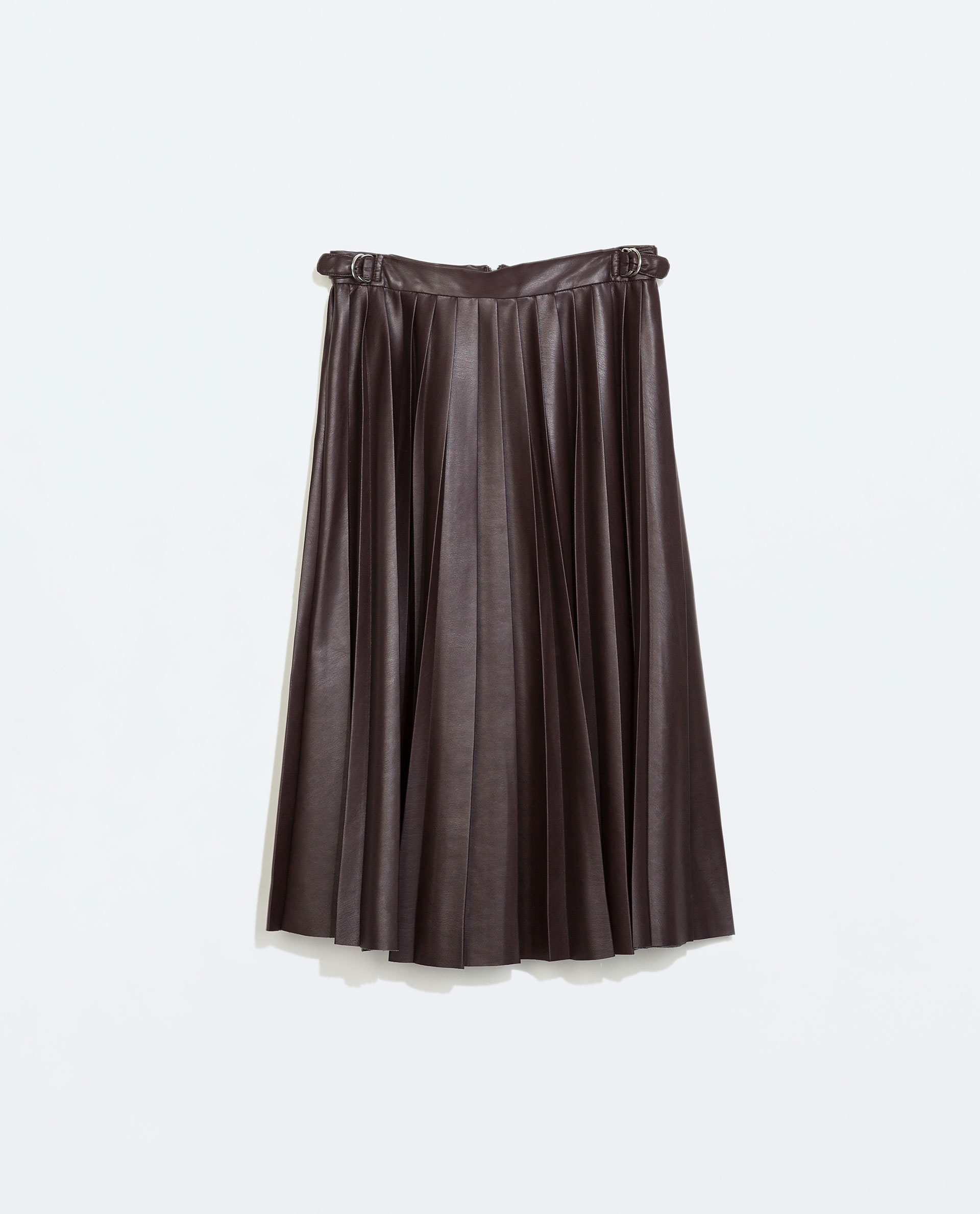zara faux leather pleated midi skirt in purple wine lyst