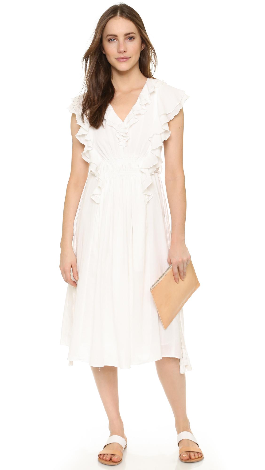 66cd4db948b Lyst - Apiece Apart San Rafael Midi Ruffle Dress in White