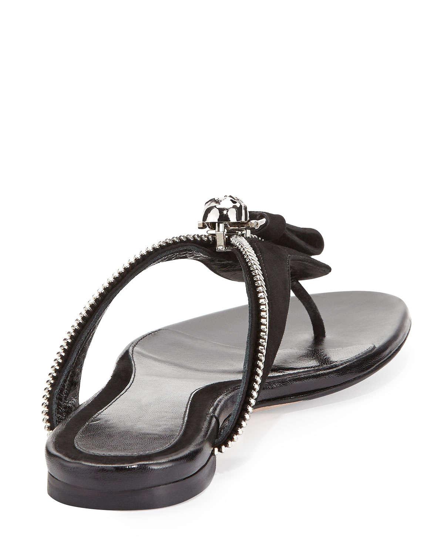 Lyst - Alexander McQueen Ankle-wrap Flat Thong Sandal in Black