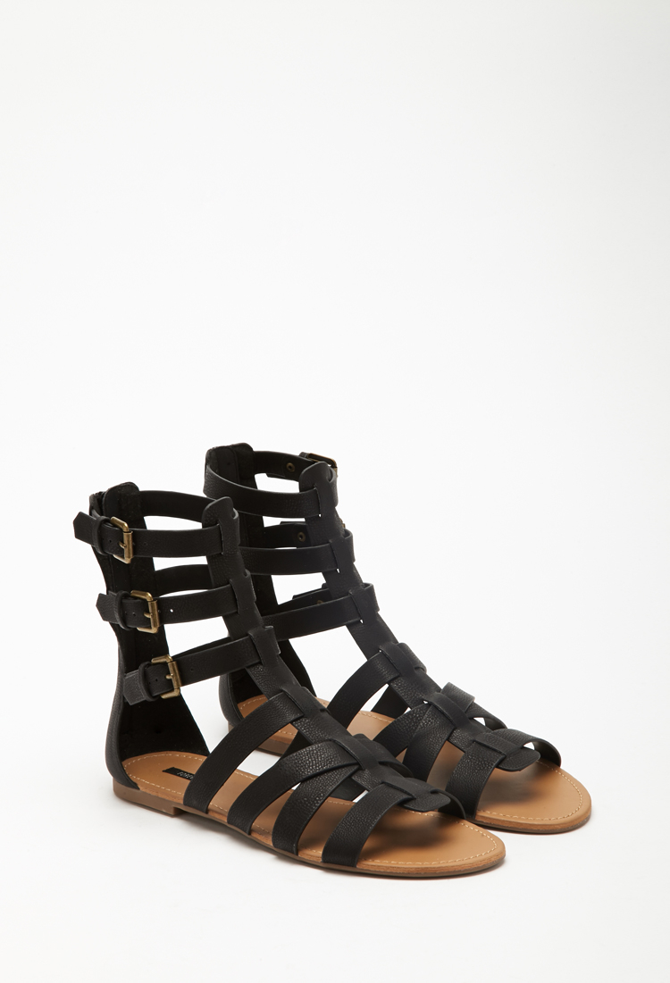 26bfd054bbe Lyst - Forever 21 Faux Leather Gladiator Sandals in Black