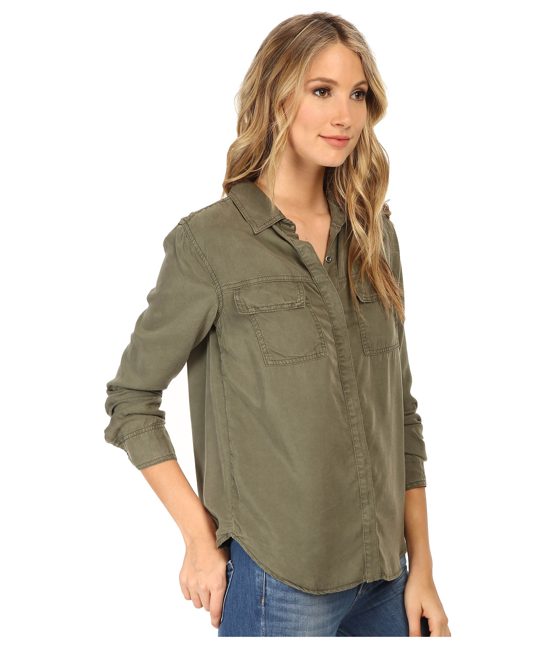Lyst Splendid Wilder Tencel Shirt In Green
