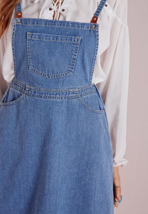 Lyst Missguided Denim Pinafore Pocket Detail Mini Dress