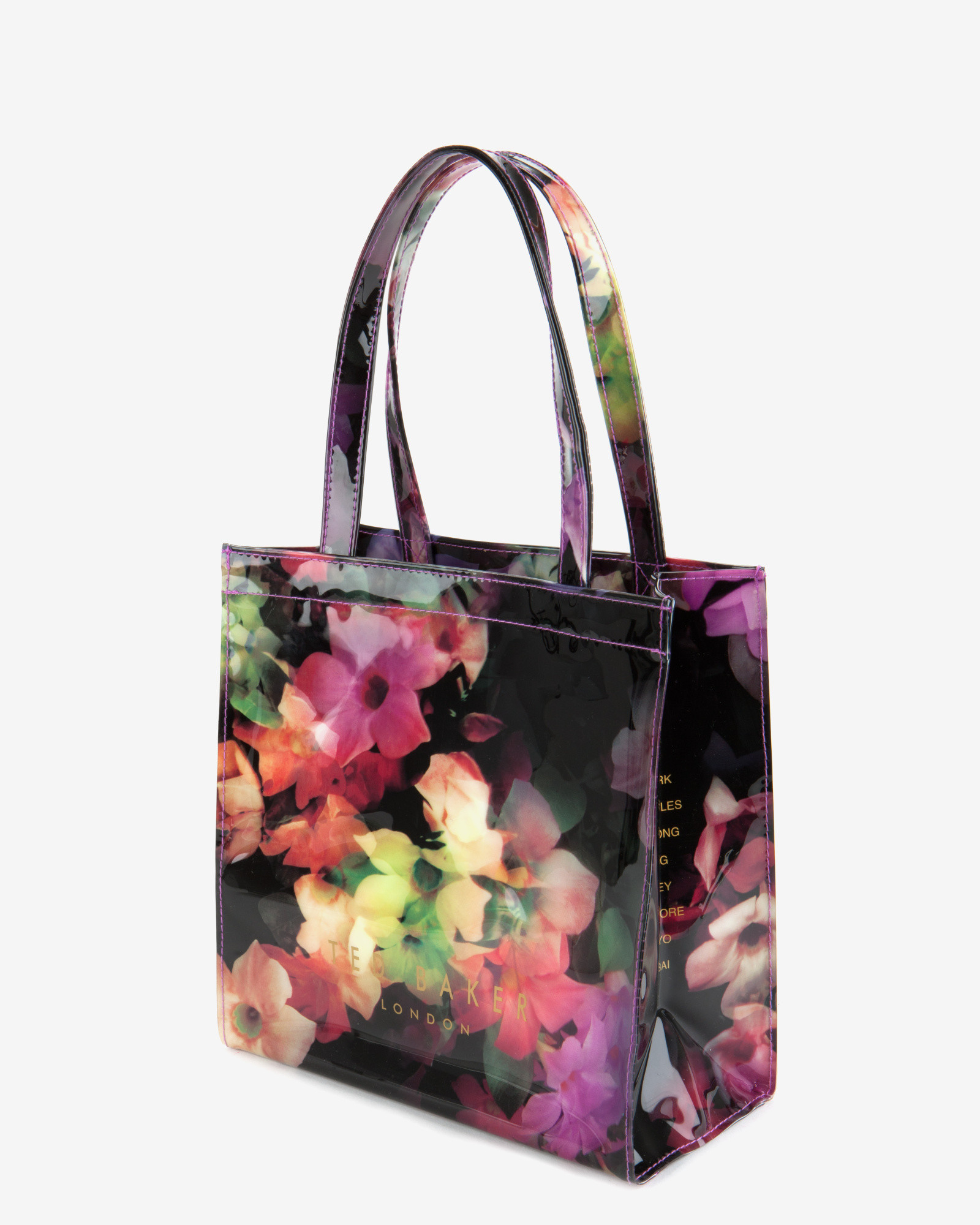 b9134a18b96a Ted Baker Small Cascading Floral Shopper Bag in Black - Lyst