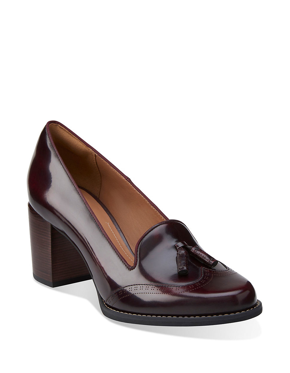 Clarks Tarah Rosie Leather Loafer Pumps In Brown Lyst