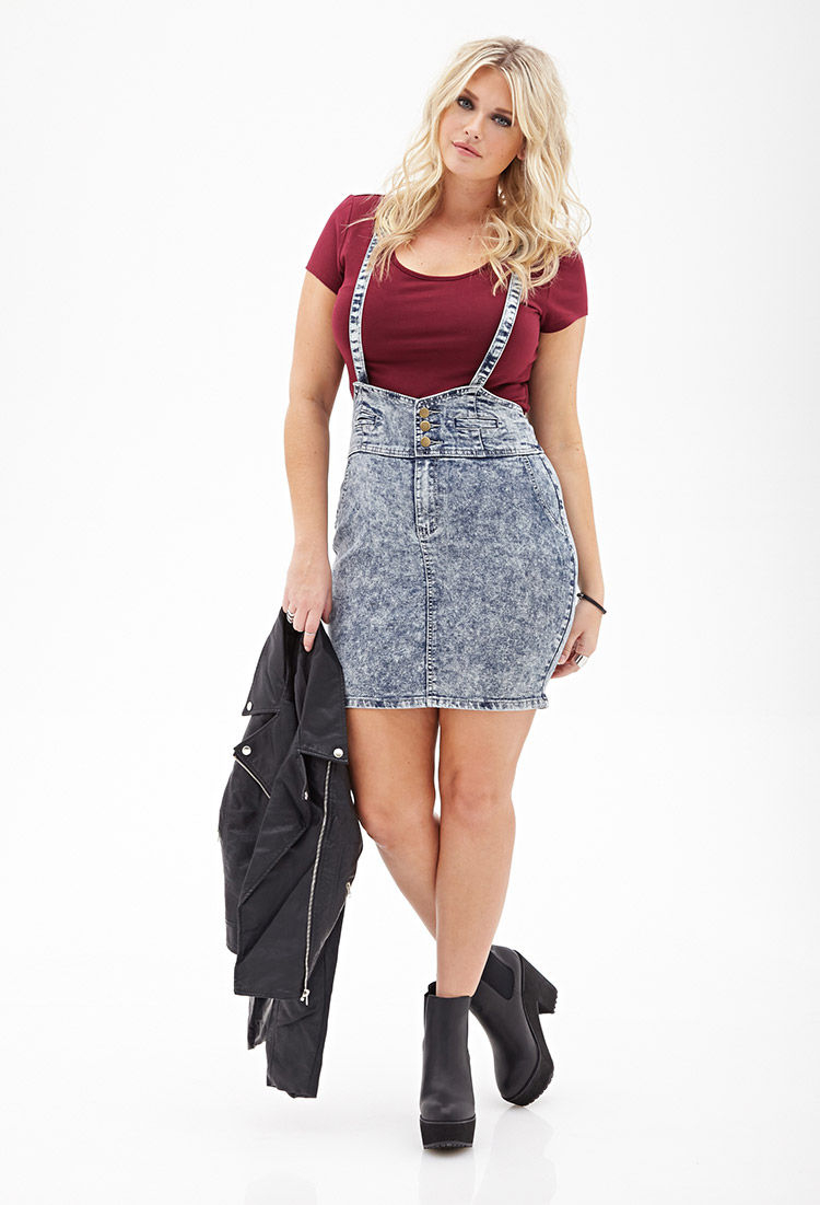 Lyst Forever 21 Acid Wash Overall Dress In Blue
