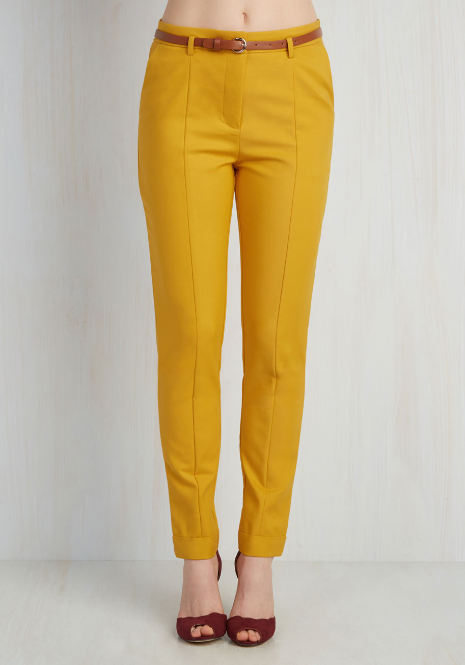 Elegant OLUOLIN Womens Skinny Solid Color Pants Trousers Size M Mustard