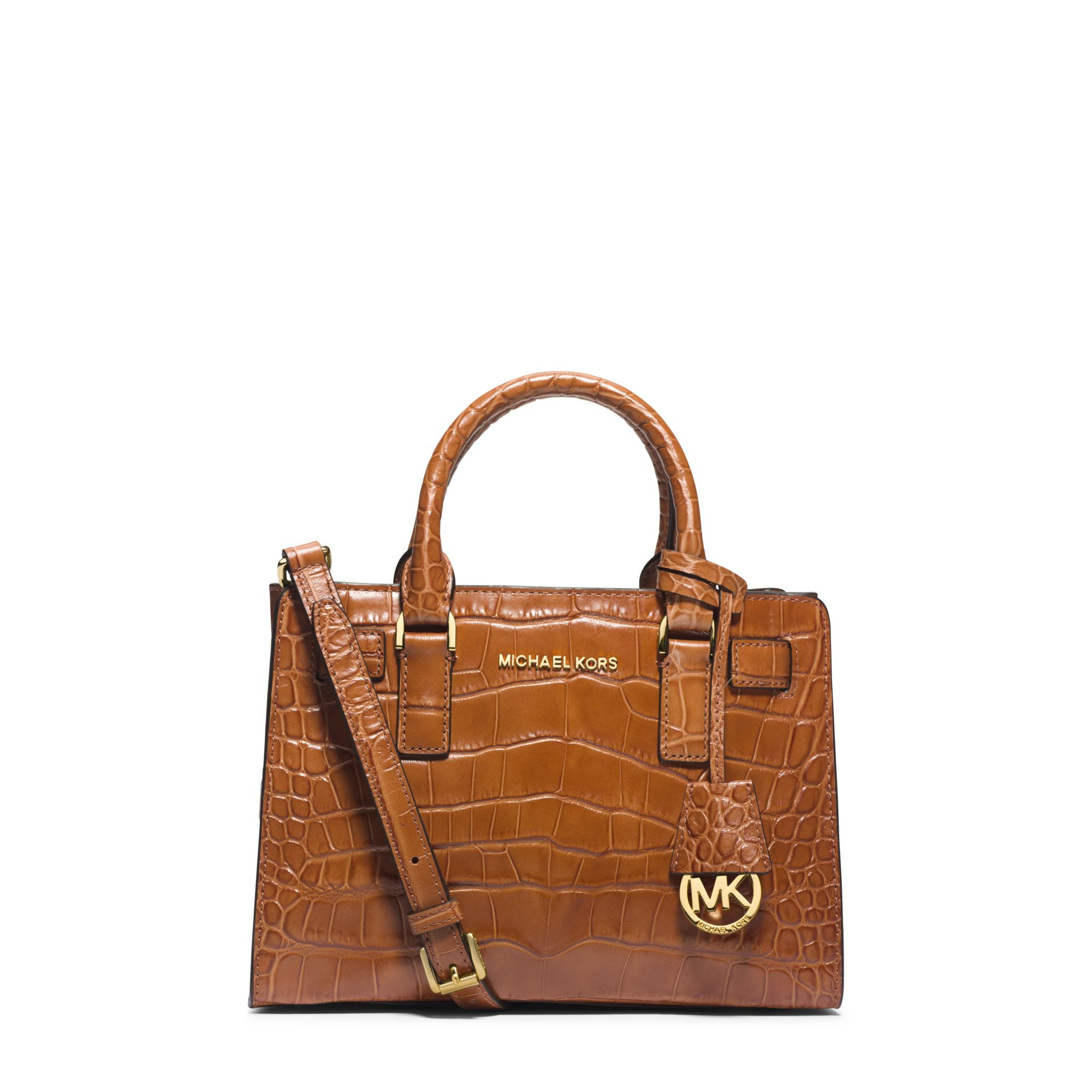 6f477b05a7ea Lyst Michael Kors Dillon Small Embossed Leather Satchel In Brown