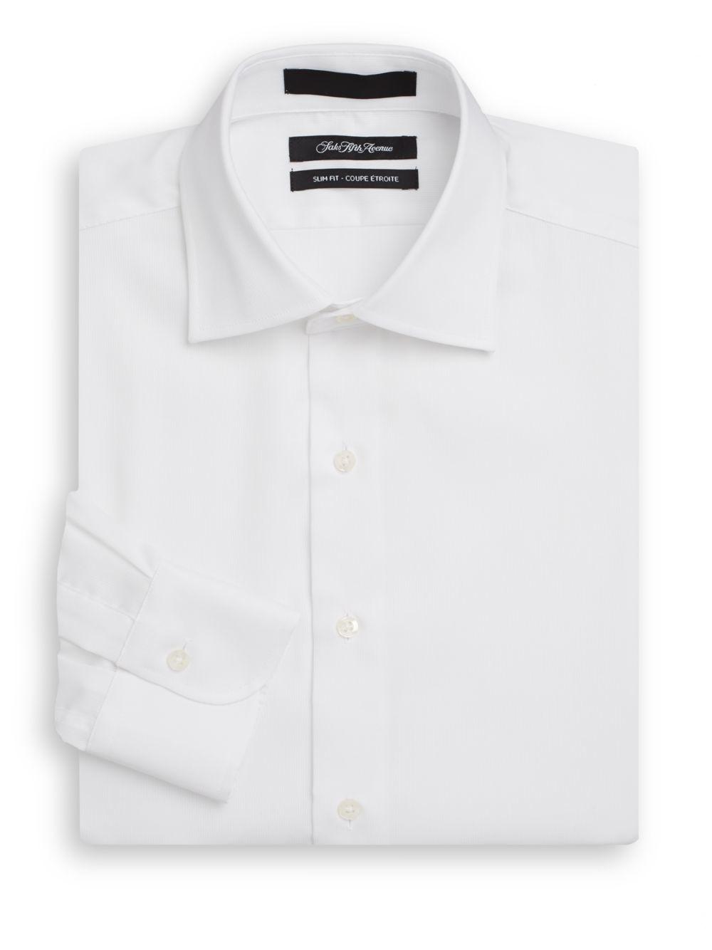 Saks fifth avenue slim fit herringbone cotton dress shirt for White herringbone dress shirt