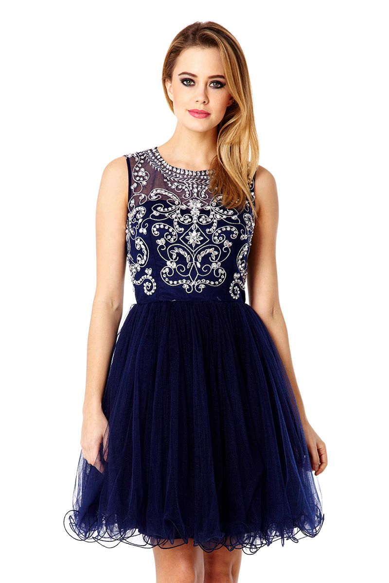 Quiz Navy Mesh Diamante Prom Dress in Blue | Lyst