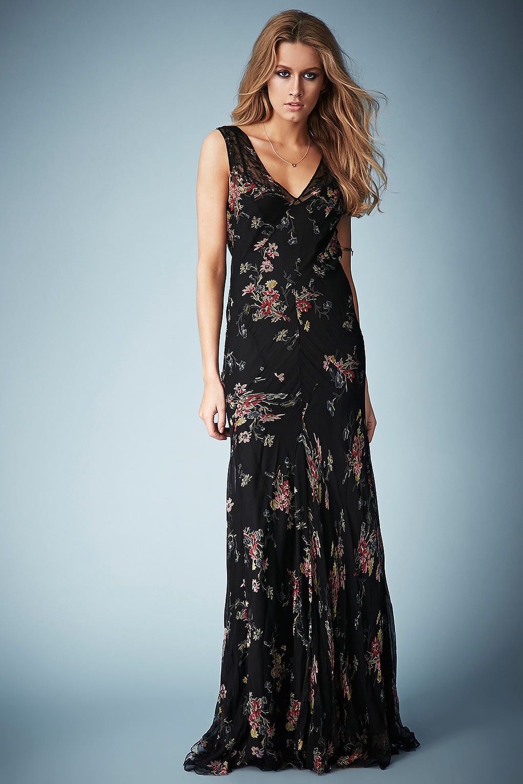 Lyst Topshop Floral Chiffon Maxi Dress By Kate Moss For