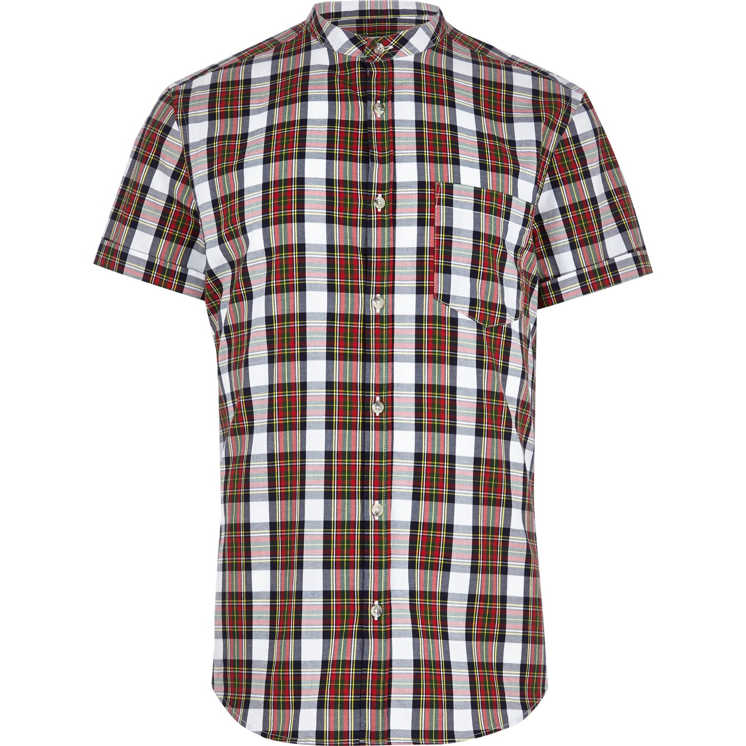 River island red check collarless short sleeve shirt in for Collarless short sleeve dress shirt