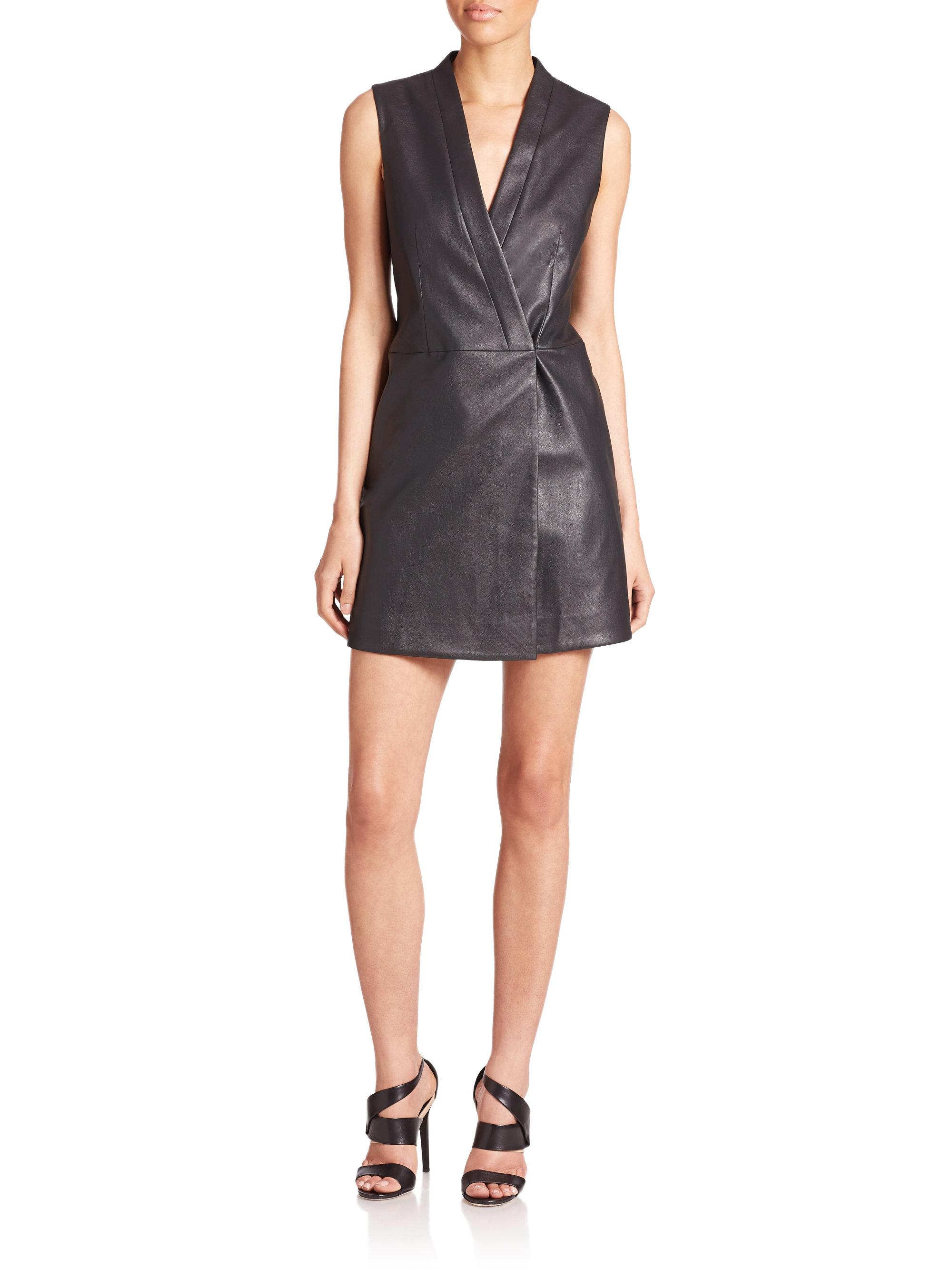 Lyst Bcbgmaxazria Caryn Faux Leather Vest Dress In Black