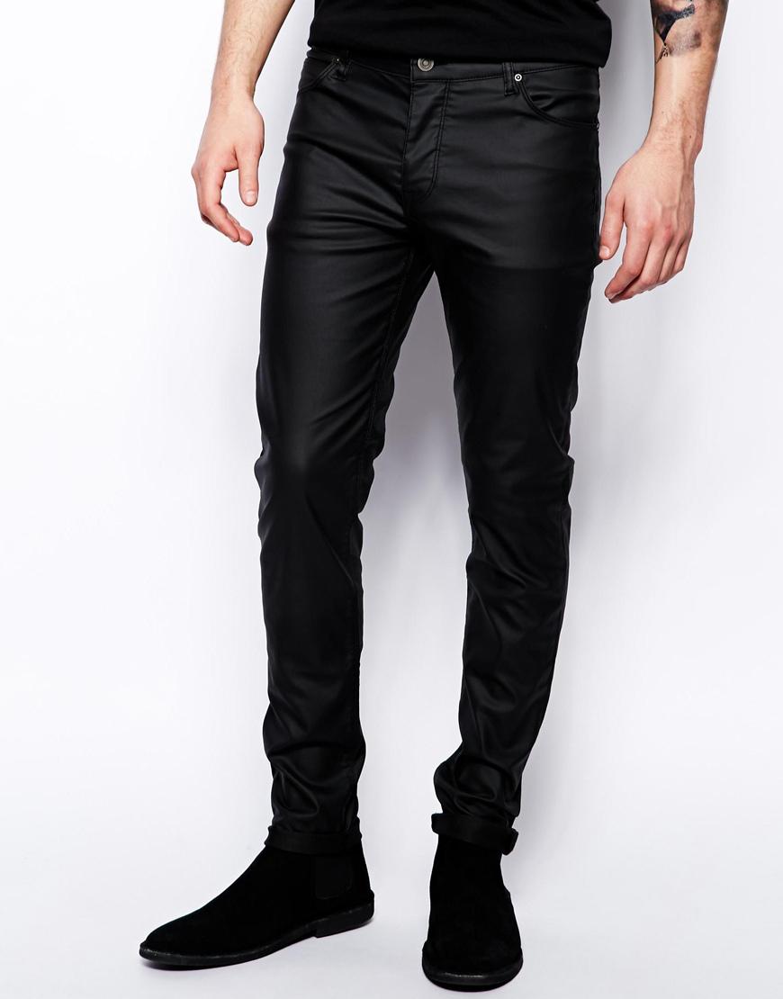 Lyst Asos Skinny Jeans In Leather Look In Black For Men
