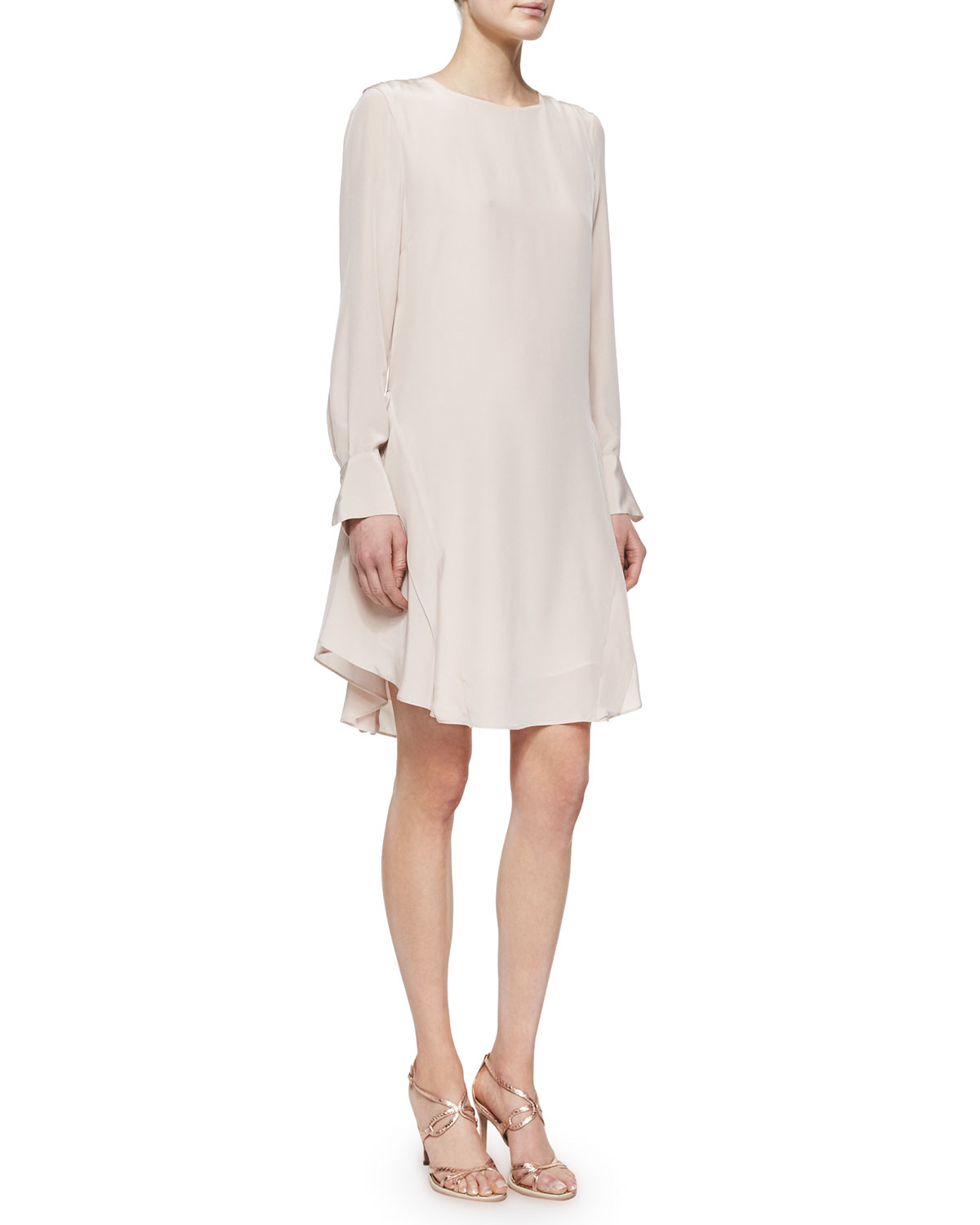 a9d2e7215a Lyst - See By Chloé Long-sleeve Silk Ruffle-hem Dress in Pink
