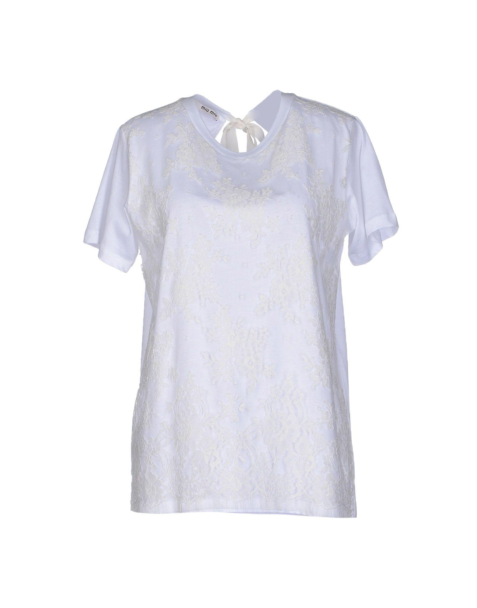 Lyst miu miu t shirt in white for Miu miu t shirt