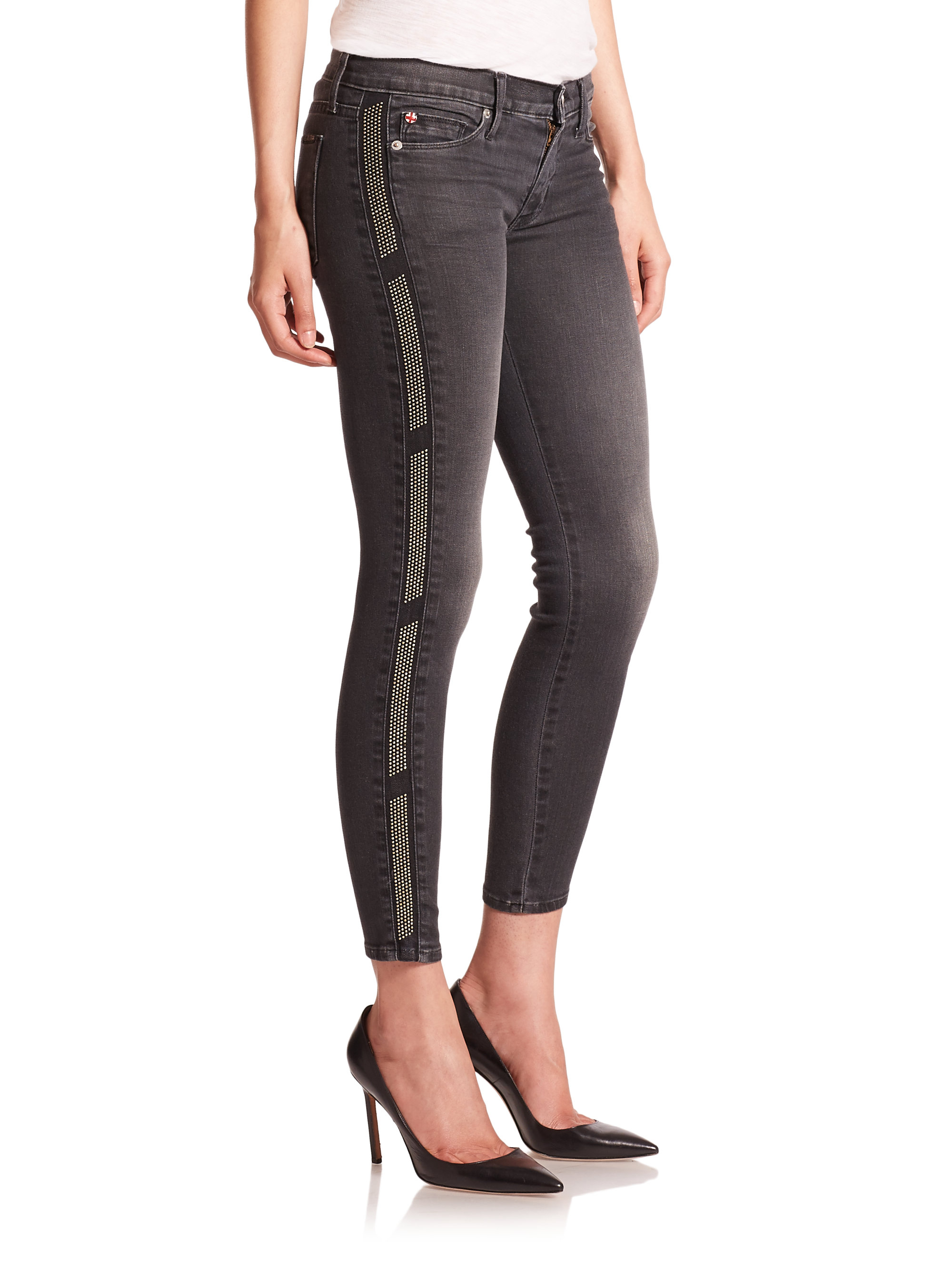 466569cc8a4 Hudson Jeans Embellished Tuxedo-stripe Super Skinny Jeans in Black ...