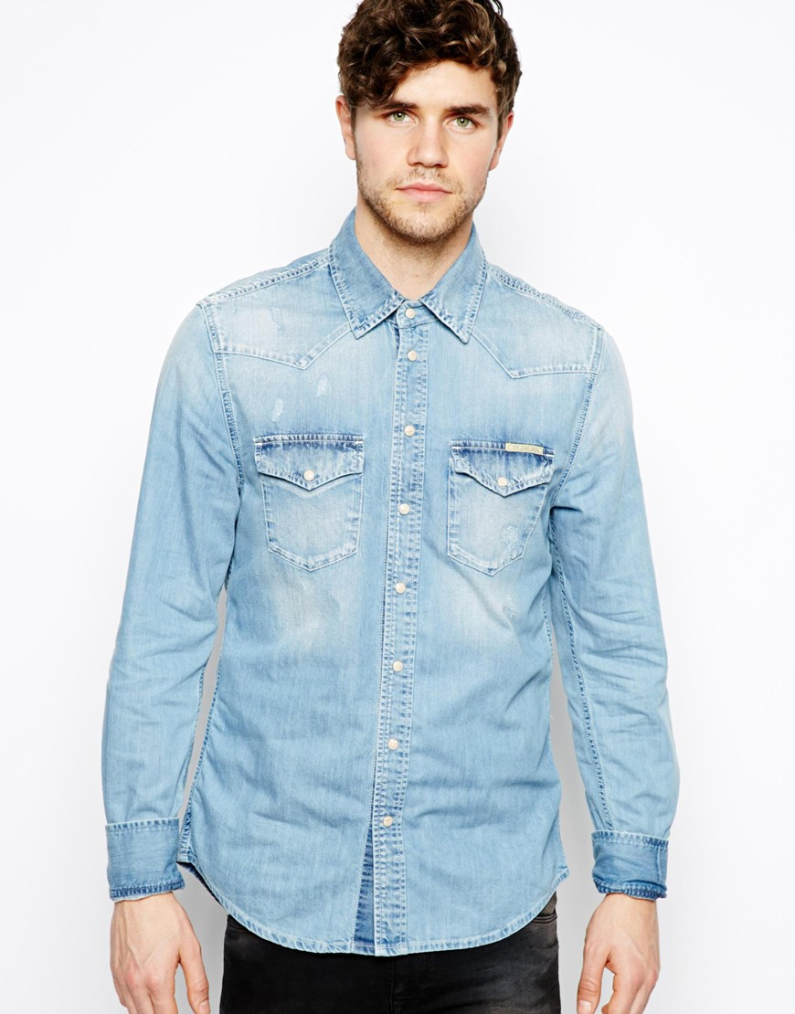 fc312e47ee5 Pepe Jeans Pepe Denim Shirt Carson Western Light Wash in Blue for Men - Lyst