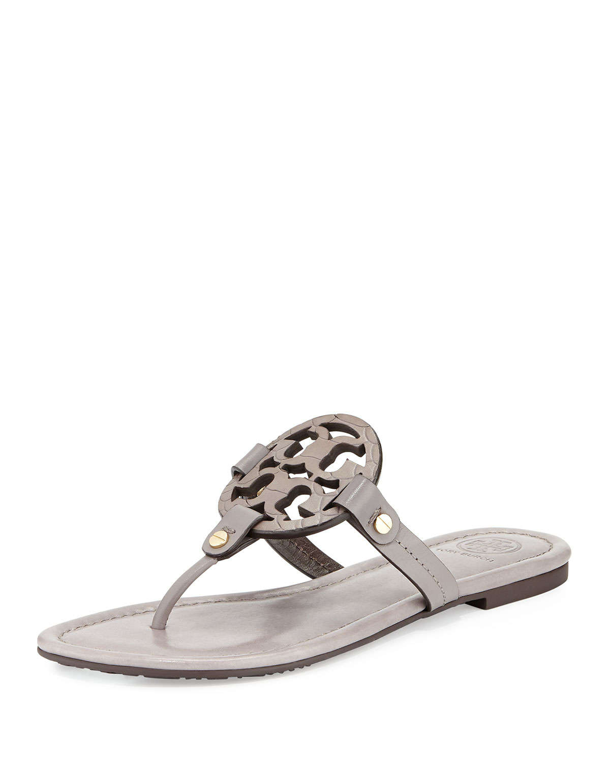 1b251c1624228 ... 2 Snake Embossed Medallion Sandals Natural 185 (Compare Elsewhere 225)  SHIPS  Lyst - Tory Burch Miller Logo Flat Sandal in Gray crazy price 40d65  f3ce4 ...