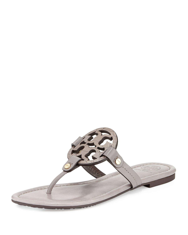 616e98a8734c11 ... Lyst - Tory Burch Miller Logo Flat Sandal in Gray crazy price 40d65  f3ce4 ...