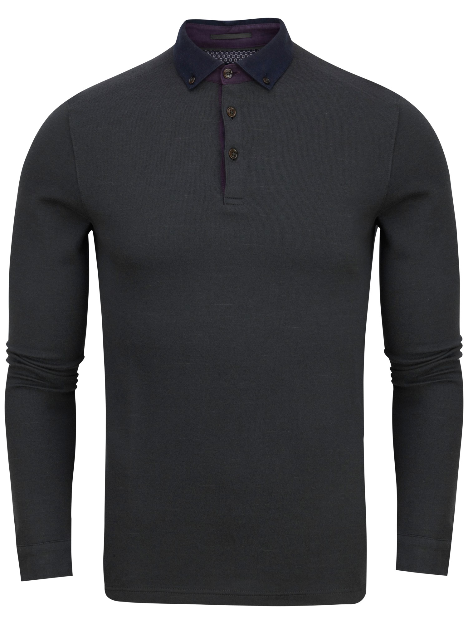 2fc6aaee034d Ted Baker Longlit Long Sleeve Polo Shirt in Gray for Men - Lyst